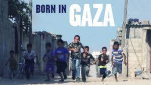 Born in Gaza poster. Boys running up on a street in Gaza