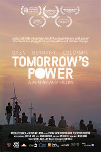 Poster of Tomorrow's Power. People in Sunset with Windmills